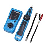 RJ11 RJ45 Telephone Wire Tracker Tracer Toner Ethernet LAN Network Cable Tester Detector Line Finder with Clip Adapter Cable, RJ11 Adapter Cable, RJ45 Adapter Cable - Blue