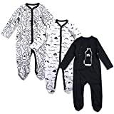 OPAWO Baby Boys' Footed Sleeper Pajamas 3 Pack Long Sleeve Coverall 0-18 Months