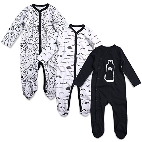 OPAWO Baby Boys' Footed Sleeper Pajamas 3 Pack 6-9 Months