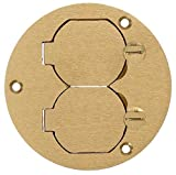 Hubbell Wiring Systems S3925 Brass Round Floor Box Duplex Flap Single Service Cover, 3.88'' Diameter