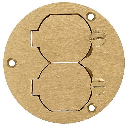 Round Plug Cover (Hubbell Wiring Systems S3925 Brass Round Floor Box Duplex Flap Single Service Cover, 3.88