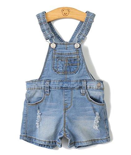 Baby Girls/Boys Big Bibs Raw Edge Light Blue Summer Jeans Shortalls,Light Blue,6-9 Months
