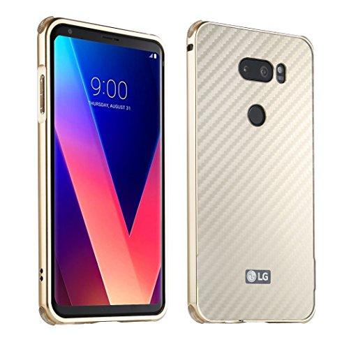 LG V30 Metal Case +Tempered Glass Screen Protector, ZLDECO Shockproof Aluminum Metal Frame + Detachable Carbon Fiber Pattern Back Cover Protective for LG V30S V30+ V30 H930, H931, LG H932 (Champagne) Back Metal Frame