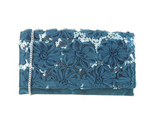 Clutch Sequin Wedding Bag Loni Bag Shoulder Womens Bag Prom Party Glitzy Evening Turquoise Teal ZPZwItx8