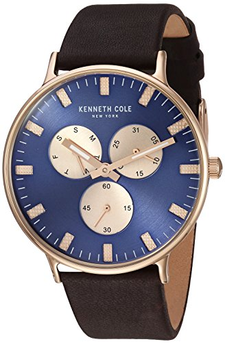 (Kenneth Cole New York Men's Sport' Quartz Stainless Steel and Leather Dress Watch, Color:Brown (Model: KC14946002))