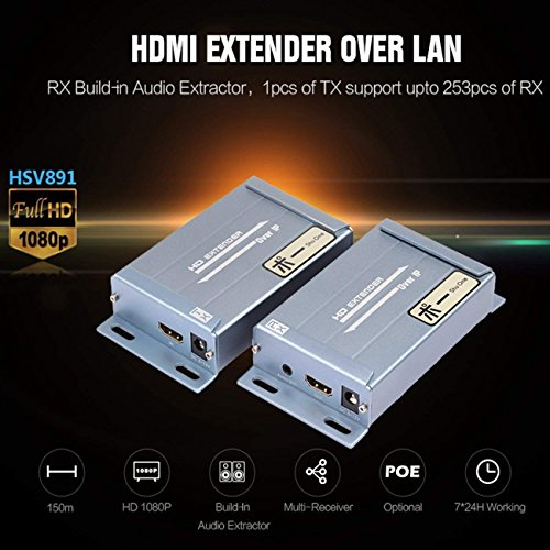 1080P 394ft HDMI Extender Over TCP/IP with Audio Extractor Via Rj45 Cat5 Cat5e Cat6 Supports Sky HD Box Laptop PC DVD STB PS4, (Transmitter+Receiver) by ShuOne (Image #1)