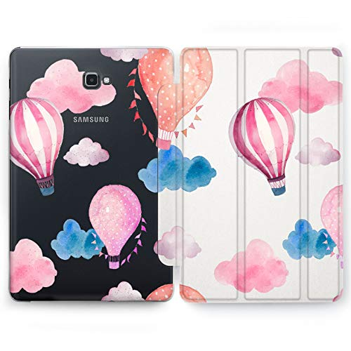 Wonder Wild Floating Balloon Samsung Galaxy Tab S4 S2 S3 A E Smart Stand Case 2015 2016 2017 2018 Cover 8 9.6 9.7 10 10.1 10.5 Inch Clear Design Girly Cute Clouds Flying Parade Trip Adventure Gentle ()