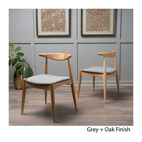 """Christopher Knight Home Francie Fabric with Oak Finish Dining Chairs, 2-Pcs Set, Grey / Oak - """"Includes: Two (2) Dining Chairs Material: Fabric  Composition: 100% Polyester Leg Material: Rubber wood Color: Grey Leg Finish: Oak Some Assembly Required Dimensions: 21.25 inches deep x 21.45 inches wide x 29.52 inches high Seat Width: 18.25 inches Seat Depth: 18.00 inches Seat Height: 17.75 inches"""" - kitchen-dining-room-furniture, kitchen-dining-room, kitchen-dining-room-chairs - 51PSjNeMfVL. SS570  -"""