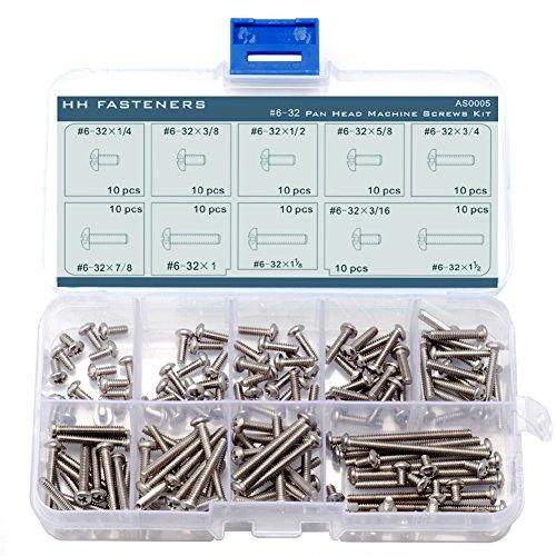 #6-32 Phillips Pan Head Machine Screws Assortment Kit,Stainless Steel,Full Thread,10 Size (100 piece)
