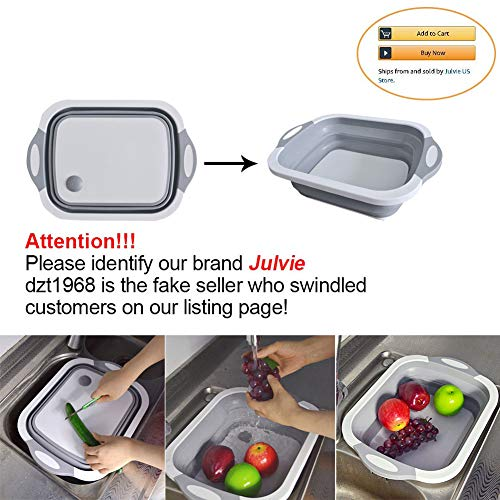 - Julvie Collapsible Cutting Board with Dish Tub,Colander Fruits Vegetables Wash and Drain Sink Storage Basket 3 in 1 Multifunctional Kitchen Gadget