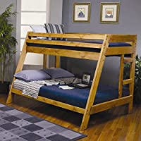 460093 Wrangle Hill Twin Over Full Bunk Bed with Built-In Ladder and Solid Pine Wood Construction in Amber Wash Finish