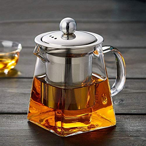 Best Review Of Clear Glass Tea Pot with Removable Stainless Steel Infuser and Lid- Teapots Kettles T...