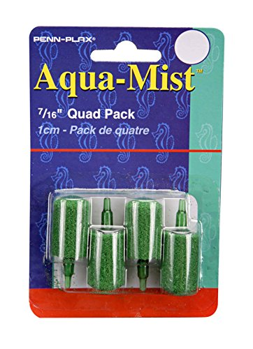 Penn Plax AS6Q 4-Pack Aqua Mist Air Stone Cylinder Aerator for Fish Tank Aqua Mist Air Stone