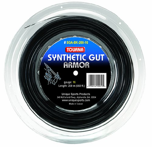 Tourna Synthetic Gut Armor 16G String Reel, Black