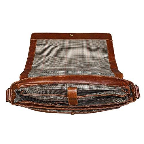 Marrone In Pelle Tracolla marrone College Colore 'phil' Stilord Vera Laptop Borsa Messenger Bag Medio Per Rosso A L'università TCwHUq