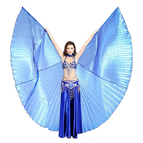 Popular Womens Costumes 2016 - Dance Fairy Belly Dance 360 Degree Isis Wings with Portable Flexible Sticks (Dark Blue)