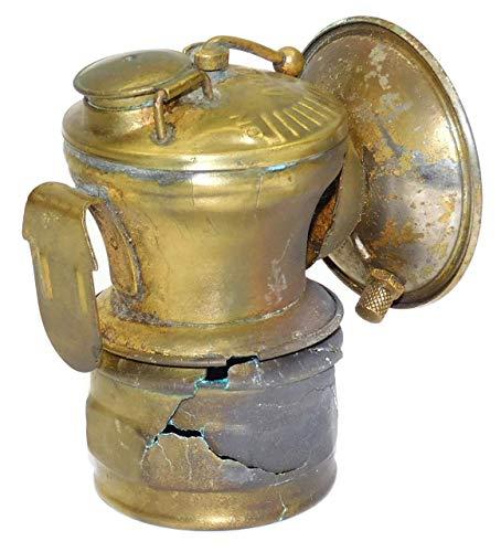 Shabby Worn Antique Autolite Carbide Lamp Coal Mining Helmet Miner