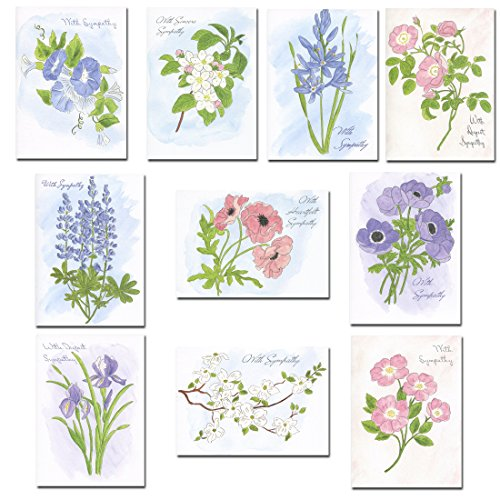 Sympathy Cards – Boxed Assortment, 30 Cards, (10 Different Designs) with Sympathy Messages Inside, 32 Envelopes, Made in USA Small Boxed Cards
