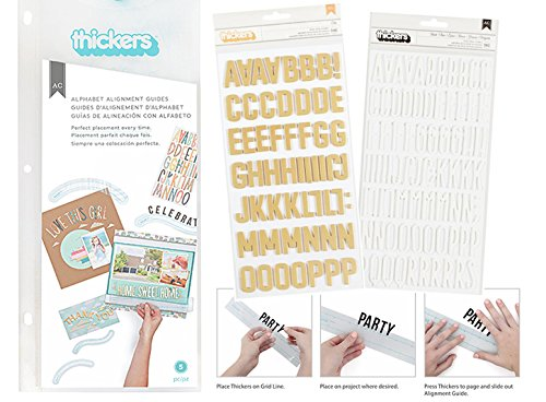 American Crafts Thickers Alignment Guide Tool (Arch, Wave, Straight) Bundle with 2 Thickers Foam Letter Stickers Set (White and Gold) for Scrapbooking, DIY Paper Crafting Projects, Bulletin Board