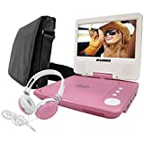 Curtis Sylvania SDVD7060-Combo-Pink 7-Inch Portable DVD Player Bundle with Matching Oversize Headphones and Deluxe Travel Bag