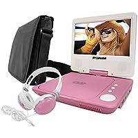 Paquete de reproductor de DVD portátil Sylvania SDVD7060-Combo-Pink de 7 pulgadas con audífonos extragrandes a juego y bolsa de viaje de lujo (rosa)