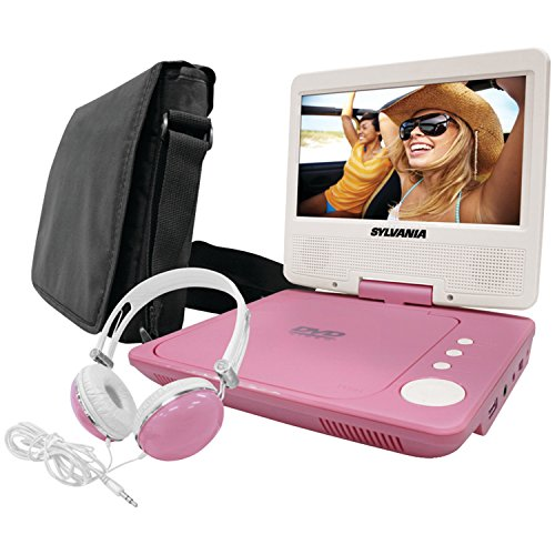 (Sylvania SDVD7060-Combo-Pink 7-Inch Portable DVD Player Bundle with Matching Oversize Headphones and Deluxe Travel Bag (Pink))