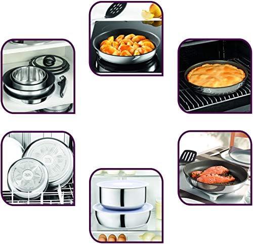 Tefal INGENIO Emotion Batterie Cuisine Induction22 Pièces Casseroles CV HermétiquesSauteuse Wok 5 Spatules Bienvenue 4 Protège-poêles2 Poignées L925SM14, INOX