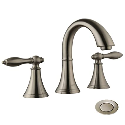 Commercial Bathroom Faucets Brushed Nicke Tow Handle 8 Inch Modern