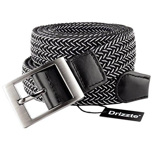 Drizzte Plus Size 47 55 63 71 Mens Stretch Elastic Braided Waist Belt Black