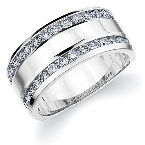1CT Genuine 2 Row Diamond Ring for Women, Two Row Diamond Wedding Band in 10K White Gold Finger Size 8