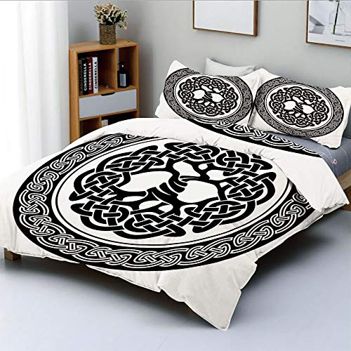- Duplex Print Duvet Cover Set Queen Size,Native Celtic Tree of Life Figure Ireland Early Renaissance Artsy Modern DesignDecorative 3 Piece Bedding Set with 2 Pillow Sham,Black White,Best Gift for Kids