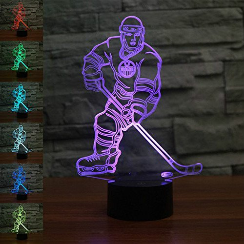 Jinnwell 3D Ice Hockey Player Night Light Lamp Illusion 7 Color Changing Touch Switch Table Desk Decoration Lamps Perfect Christmas Gift with Acrylic Flat ABS Base USB Cable Toy ()