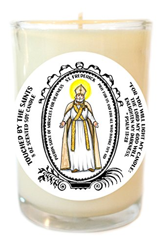 St Frederick of Miracles for Deafness 8 Oz Scented Soy Glass Prayer Candle by Touched By The Saints