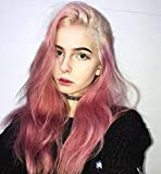 LANOVA 2019 Design Rooted Hot Pink Lace Front Wigs for Women Ombre Pink Wigs with Blonde Roots 136 Lace Front Wig Free Part 24 inch