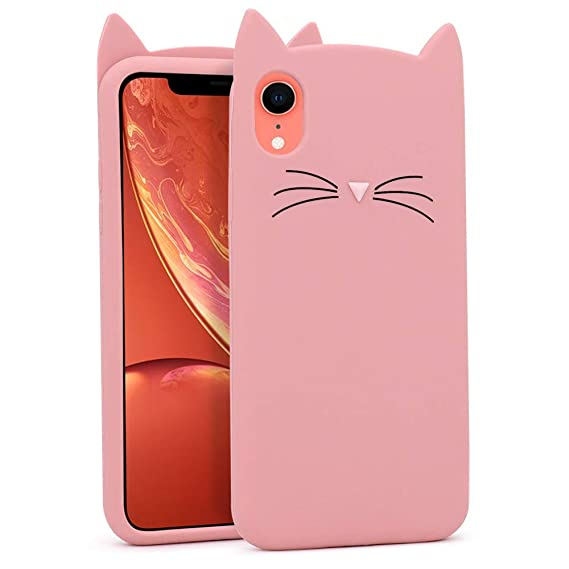 timeless design 0144b 35aeb BEFOSSON Cat Case for iPhone XR, 3D Cartoon Pink Cute Kitty Meow iPhone XR  Case, Fashion Soft Silicone Rubber Animal Shaped Protective Phone Skin ...