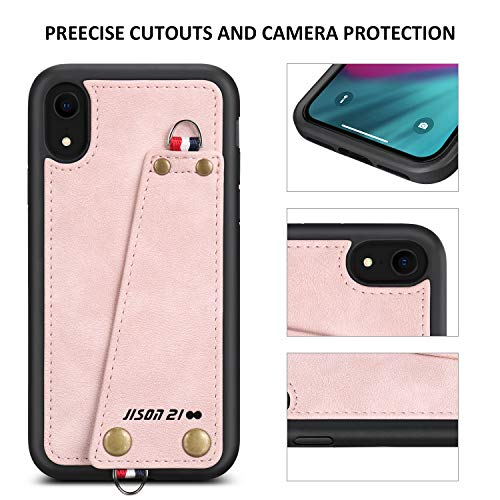 JISON21 iPhone XR case with Lanyard,iPhone XR Case Crossbody Chain with Credit Card Holder Slot Adjustable Detachable Strap Leather Case for Apple iPhone XR 6.1 inch 2018 … (Light Pink)