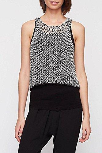Jewel Neck Shell (Eileen Fisher Women's Jewel Neck Crop Shell Black/White Size L)