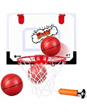 Indoor Mini Basketball Hoop Wall Mounted Basketball Hoop Set with Ball and Pump Basketball Toys Sports Active Gifts for Kids Boys Girls Adults