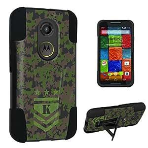 DuroCase ? Motorola Moto X 2nd Gen. 2014 Kickstand Bumper Case - (Army Camo Monogram K)