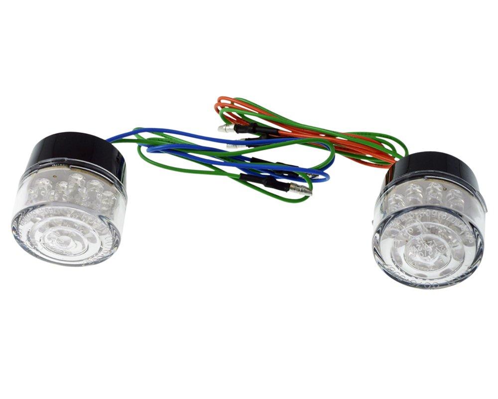 rund transparent 34x34mm Blinker Paar LED Motorrad ohne Gehäuse