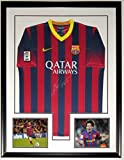 Lionel Messi Signed Nike Barcelona L Jersey - PSA DNA COA Authenticated - Custom Framed & 2 8x10 Photo 34x42