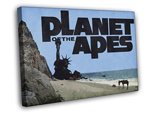 Planet of the Apes Retro Vintage Art Painting 1968 Movie Ending Statue of Liberty 40x30 Framed Canvas Print ()