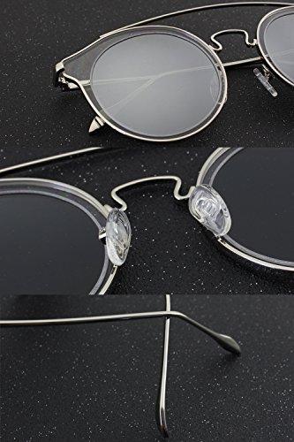 CGID MJ78 Mode Femme Double Métal Pont Barre transversale Lunettes de Soleil Polarisées Rondes UV400 Lunette Miroir Noir Gris