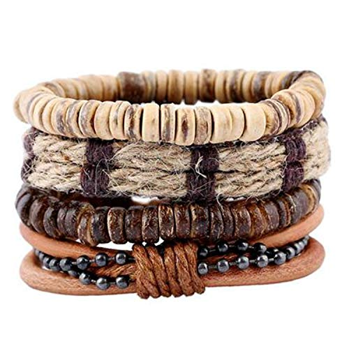 SUMMER STORE 4 Pcs/Set Weave Vintage Punk Beads Bracelets Bangles Women Leather Charm Braid Wrap Bracelets Punk Homme Jewelry
