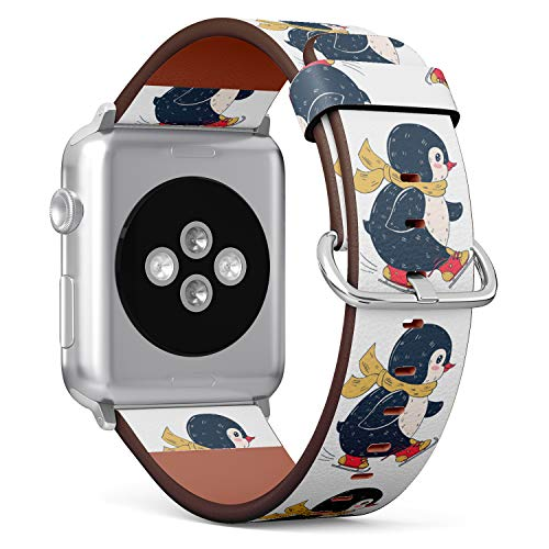 ((Winter Illustration with Funny Cartoon Penguin on Skates) Patterned Leather Wristband Strap for Apple Watch Series 4/3/2/1 gen,Replacement for iWatch 38mm / 40mm Bands)
