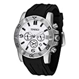 Time100 Fashion Multifunction Silicone Leather Business Mens Quartz Watches (White)