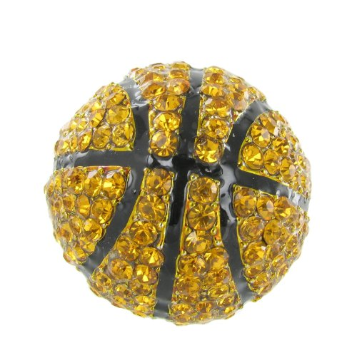 Half Sphere Basketball Rhinestone Stretch Ring with Orange Topaz Crystals and Black Enamel Stripes