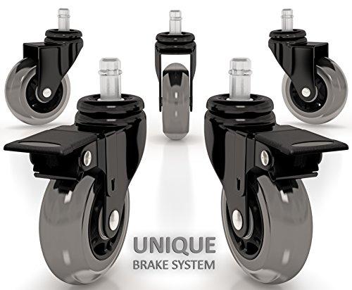 Bürostuhl Rollen - mit einzigartigen Bremse System Set für Bürostuhl -Tragkraft von 400kg aus - Polyurethan Rollerblade Stil - Schutz aller Arten von Bodenbelägen (Satz von 5)