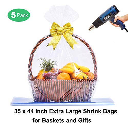 Extra Large Jumbo Shrink Wrap Bags Cellophane Bags for Easter Baskets - 35 x 44 Inch Premium Quality Bags (5 pcs)
