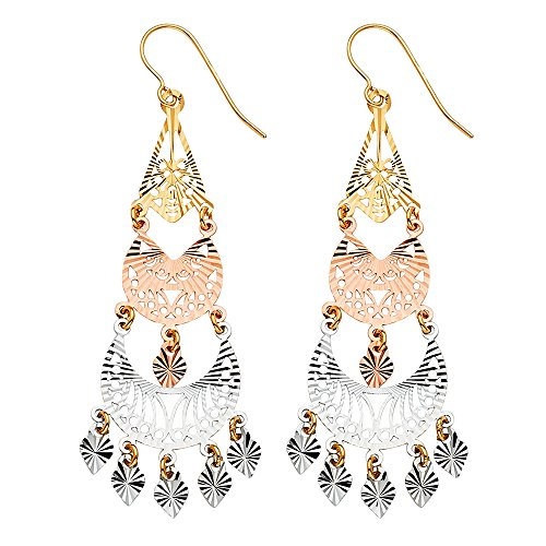 Sonia Jewels 14k White Yellow And Rose Gold Filigree Hanging Chandelier Dangle Womens Earrings 57MM X 21MM ()